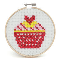 Cup Cake Felt Counted Cross Stitch Wooden Hoop Kit