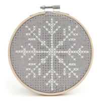 Snowflake Felt Counted Cross Stitch Wooden Hoop Kit